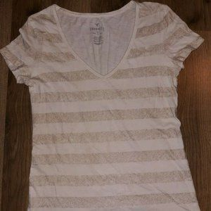 AE Favorite T Ivory and Gold Cotton Stripes Tee